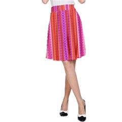Orange tribal aztec pattern A-Line Skirts