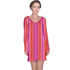 Orange tribal aztec pattern Long Sleeve Nightdresses