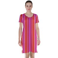 Orange Tribal Aztec Pattern Short Sleeve Nightdresses