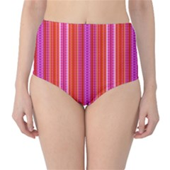 Orange tribal aztec pattern High-Waist Bikini Bottoms
