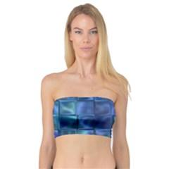 Blue Squares Tiles Women s Bandeau Tops