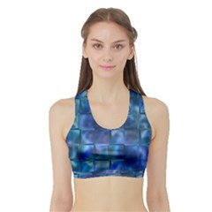 Blue Squares Tiles Women s Sports Bra with Border