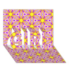 Cute Pretty Elegant Pattern GIRL 3D Greeting Card (7x5)