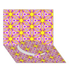Cute Pretty Elegant Pattern Circle Bottom 3d Greeting Card (7x5)