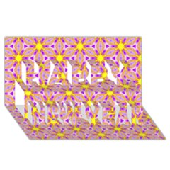 Cute Pretty Elegant Pattern Happy New Year 3d Greeting Card (8x4)
