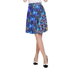 Blue Sunrise Fractal A-Line Skirt