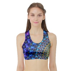 Blue Sunrise Fractal Women s Sports Bra With Border