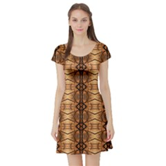 Faux Animal Print Pattern Short Sleeve Skater Dresses