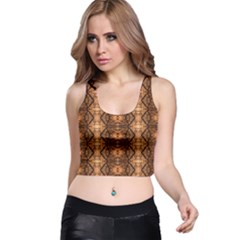 Faux Animal Print Pattern Racer Back Crop Tops