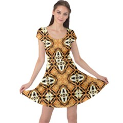 Faux Animal Print Pattern Cap Sleeve Dresses
