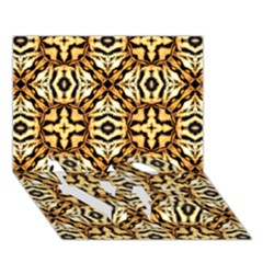 Faux Animal Print Pattern LOVE Bottom 3D Greeting Card (7x5)