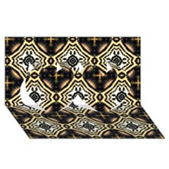 Faux Animal Print Pattern Twin Hearts 3D Greeting Card (8x4)