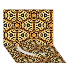 Faux Animal Print Pattern Circle Bottom 3d Greeting Card (7x5)
