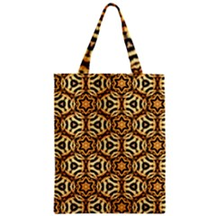 Faux Animal Print Pattern Zipper Classic Tote Bags