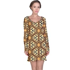 Faux Animal Print Pattern Long Sleeve Nightdresses