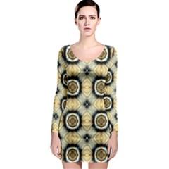 Faux Animal Print Pattern Long Sleeve Bodycon Dresses