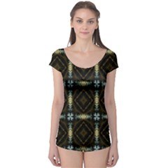 Faux Animal Print Pattern Short Sleeve Leotard