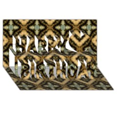 Faux Animal Print Pattern Happy Birthday 3D Greeting Card (8x4)