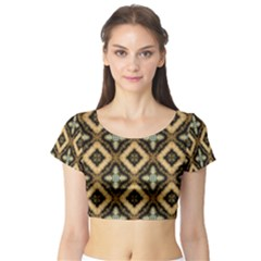 Faux Animal Print Pattern Short Sleeve Crop Top