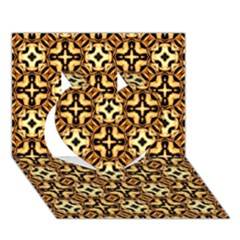 Faux Animal Print Pattern Heart 3d Greeting Card (7x5)