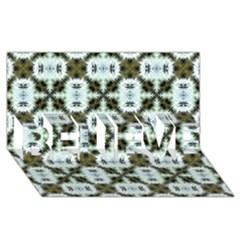 Faux Animal Print Pattern BELIEVE 3D Greeting Card (8x4)