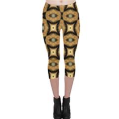 Faux Animal Print Pattern Capri Leggings
