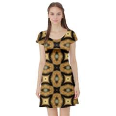 Faux Animal Print Pattern Short Sleeve Skater Dresses