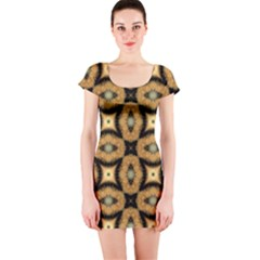 Faux Animal Print Pattern Short Sleeve Bodycon Dresses