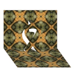 Faux Animal Print Pattern Ribbon 3d Greeting Card (7x5)