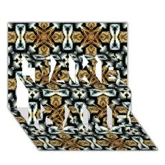 Faux Animal Print Pattern TAKE CARE 3D Greeting Card (7x5)