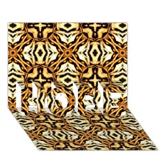 Faux Animal Print Pattern HOPE 3D Greeting Card (7x5)