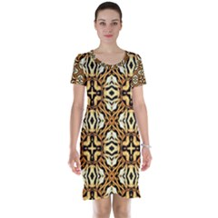 Faux Animal Print Pattern Short Sleeve Nightdresses