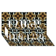 Faux Animal Print Pattern Laugh Live Love 3D Greeting Card (8x4)