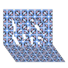 Cute Pretty Elegant Pattern LOVE 3D Greeting Card (7x5)