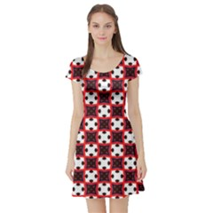 Cute Pretty Elegant Pattern Short Sleeve Skater Dresses