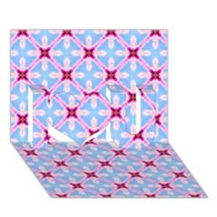 Cute Pretty Elegant Pattern I Love You 3D Greeting Card (7x5)