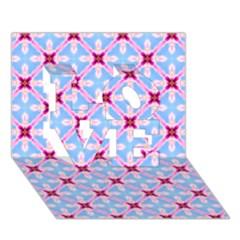 Cute Pretty Elegant Pattern LOVE 3D Greeting Card (7x5)