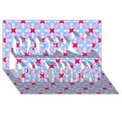 Cute Pretty Elegant Pattern Happy Birthday 3D Greeting Card (8x4)
