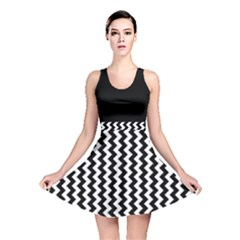 Black and White Chevron Reversible Skater Dress