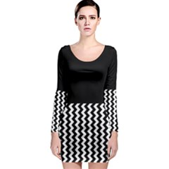 Blackandwhitechevron6000 Long Sleeve Bodycon Dresses