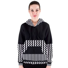 Blackandwhitechevron6000 Women s Zipper Hoodies