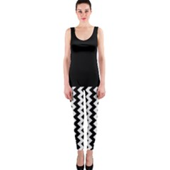 Blackand White Chevron OnePiece Catsuits