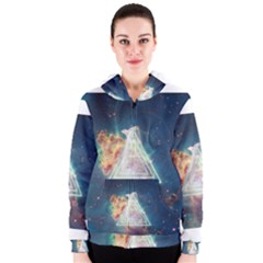 Nebula Cat Triangle Women s Zipper Hoodies