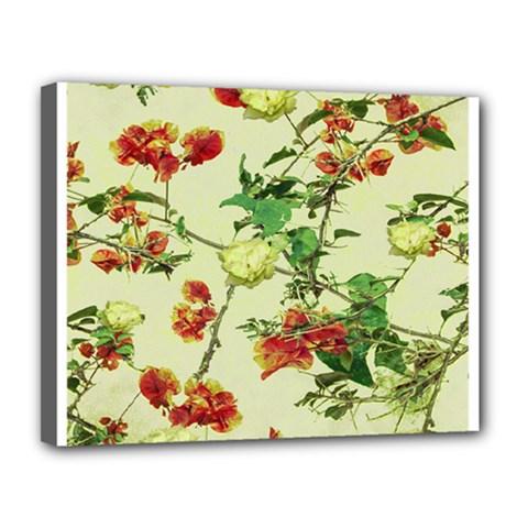 Vintage Style Floral Design Canvas 14  x 11