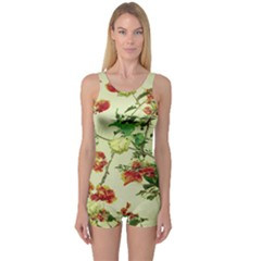 Vintage Style Floral Print Women s Boyleg One Piece Swimsuits