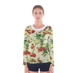 Vintage Style Floral Print Women s Long Sleeve T-shirts