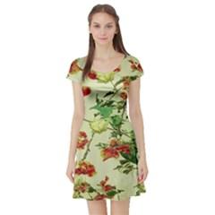 Vintage Style Floral Print Short Sleeve Skater Dresses