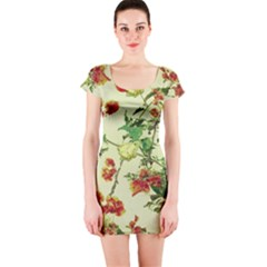 Vintage Style Floral Print Short Sleeve Bodycon Dresses