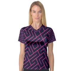 Pink Blue Maze Women s V Neck Sport Mesh Tee