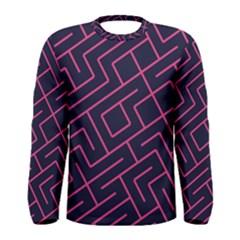 Pink blue maze Men Long Sleeve T-shirt